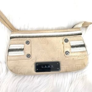 LAMB Embroidered Cream Leather Wristlet Clutch